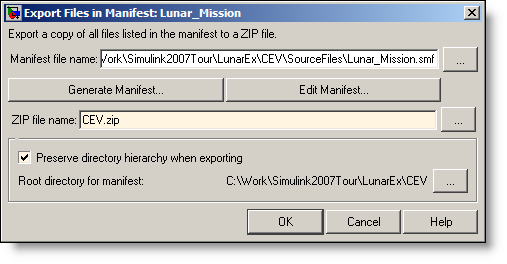 Export manifest to a zip file