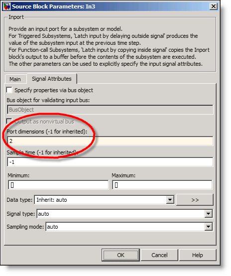 Inport dialog with port dimensions