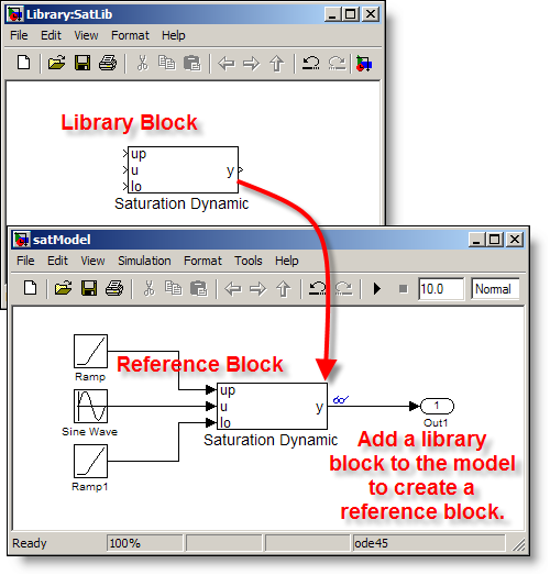Create a reference block by dragging the library block into the model.