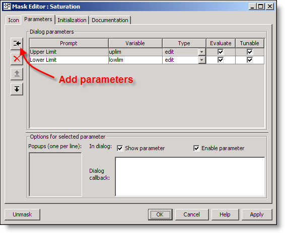 Mask Editor: Parameters Tab