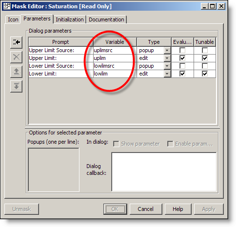Saturation block mask editor parameters