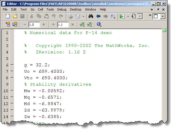 The F14 demo model initializes the workspace with the f14dat.m script.