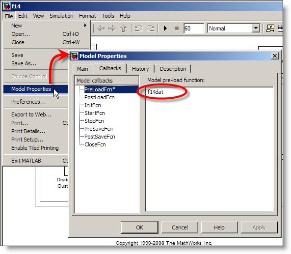 Model Properties dialog box for F14 demo model.