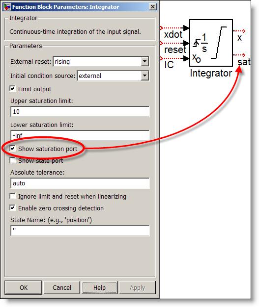 Integrator block with staturation port