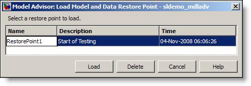 Model Advisor Load Restore Point dialog.