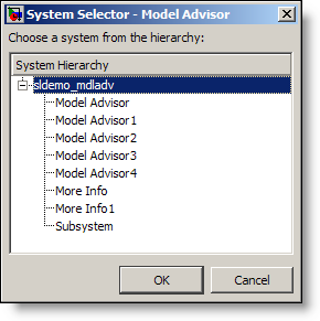 Select the system you are going to analyze with Model Advisor