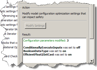 Model Advisor reports the results of modifying the model