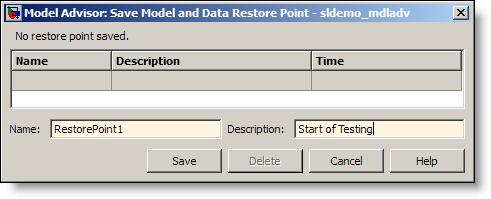 Model Advisor Save Restore Point As dialog.