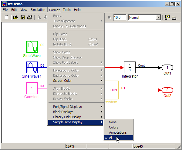 Simulink R2008b sample time colors menu