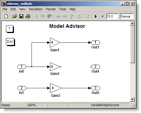The Simulink demo model sldemo_mdladv.mdl