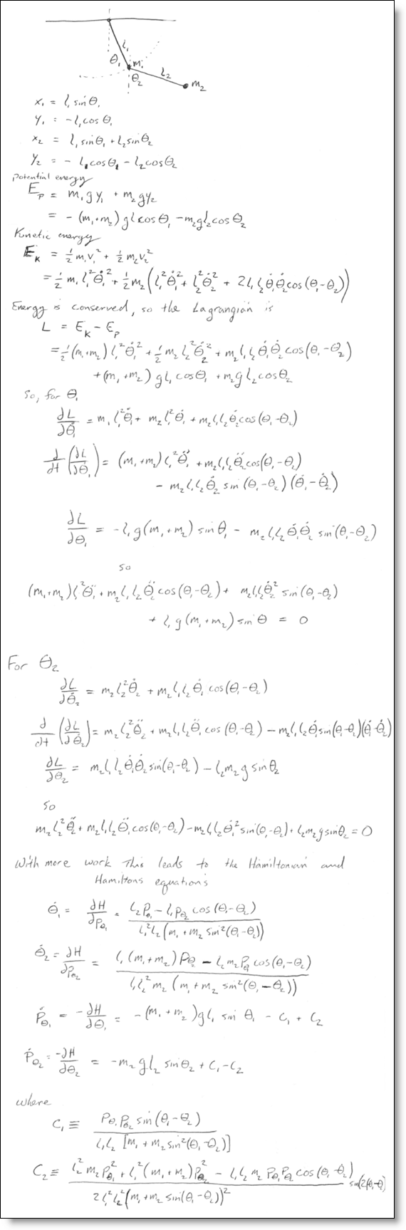 Derivation of the equations of a double pendulum