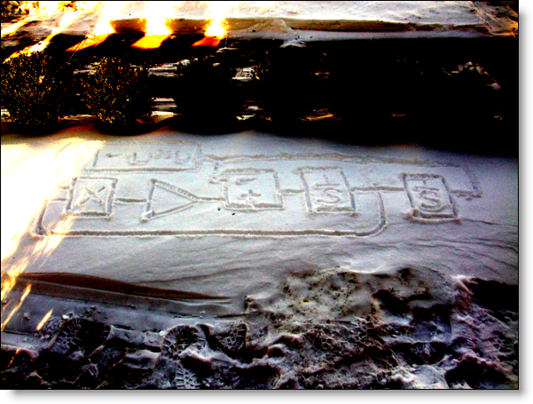 Block diagram in my front yard, drawn in the snow.