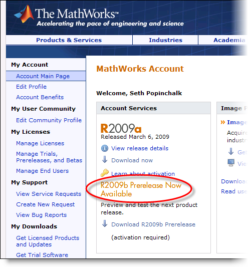 MathWorks account page announcing the R2009b Prerelease.
