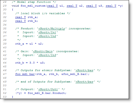 The generated code from the model.  Pretty close to the mental model.