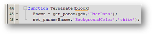 Terminate function that sets the block back to white background.