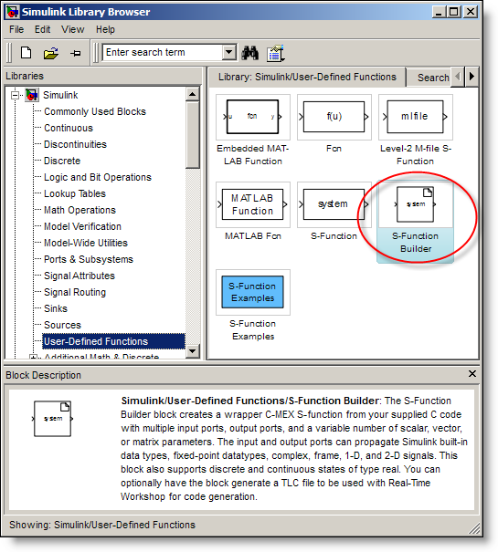 The Simulink S-function Builder Block in the library browser