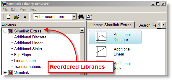 Reordered libraries in the Simulink library browser