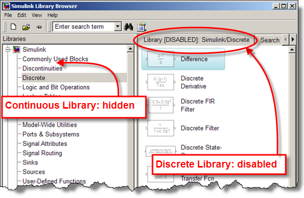 Hidden libraries and disabled libraries in Simulink