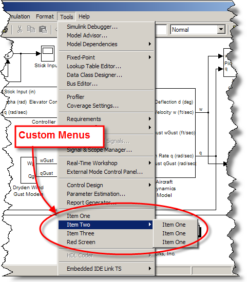 Custom menus added to Simulink