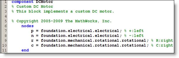 Simscape Component Definition of Nodes