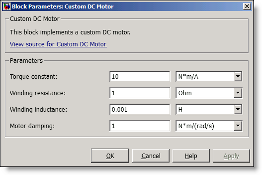 Simscape Custom DC Motor Parameters dialog box