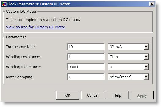 Simscape Custom DC Motor Parameters dialog box