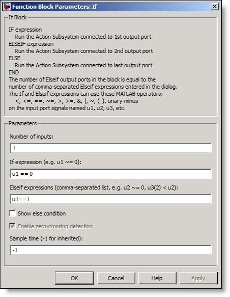 The Simulink If Block parameters.