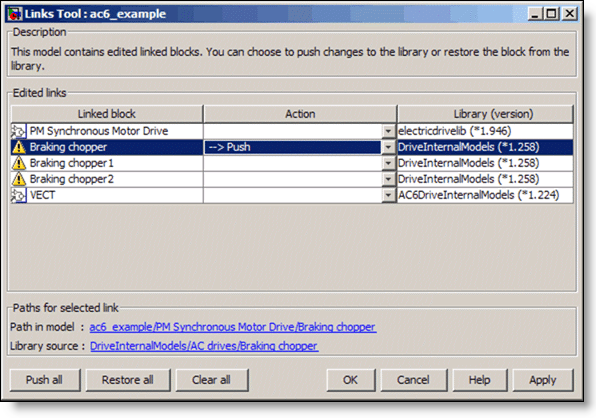 The R2009b Simulink Library Links Tool