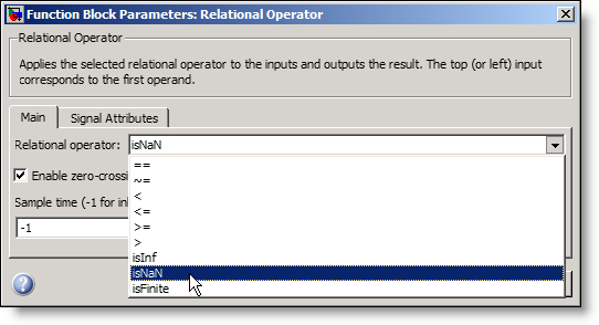 The parameters for the relational operator block in Simulink R2009b