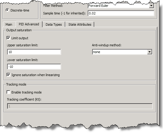 Advanced Tab from the PID Controller Block Dialog