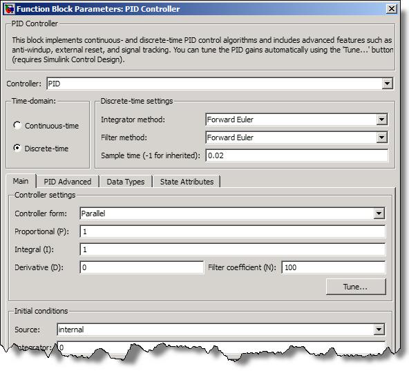 PID Controler Block Dialog