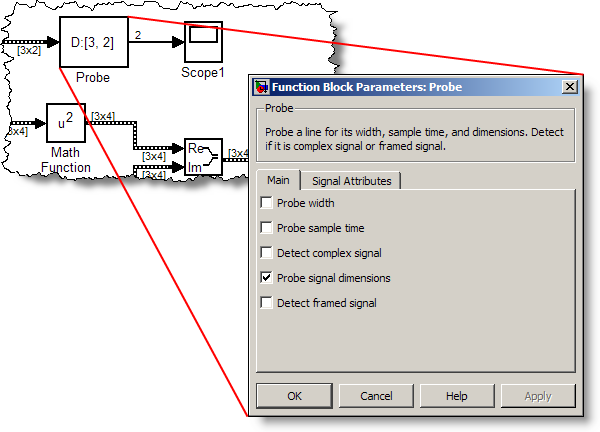 Probe block parameters