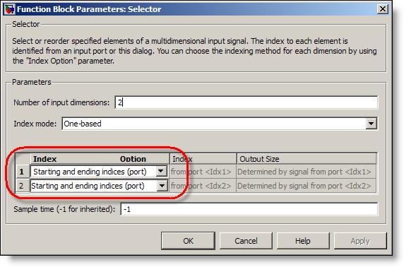 Selector block parameters