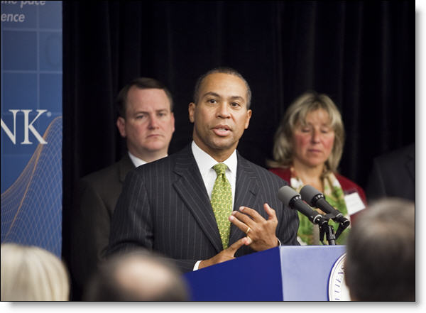 Governor Deval Patrick speeking about the STEM Advisory Council at the MathWorks