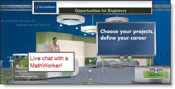 Chat with MathWorkers in virtual conference booths.