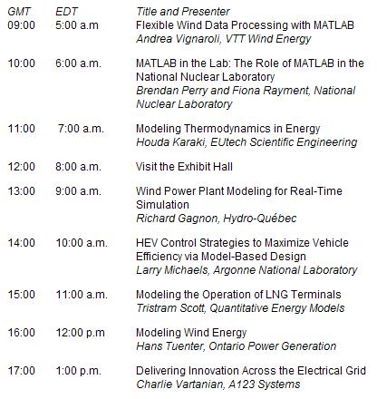 MathWorks Energy Virtual Conference Agenda