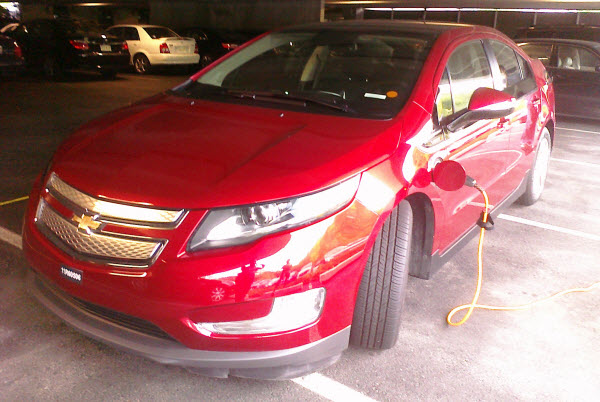 The Chevy Volt filling up with MathWorks electrons.