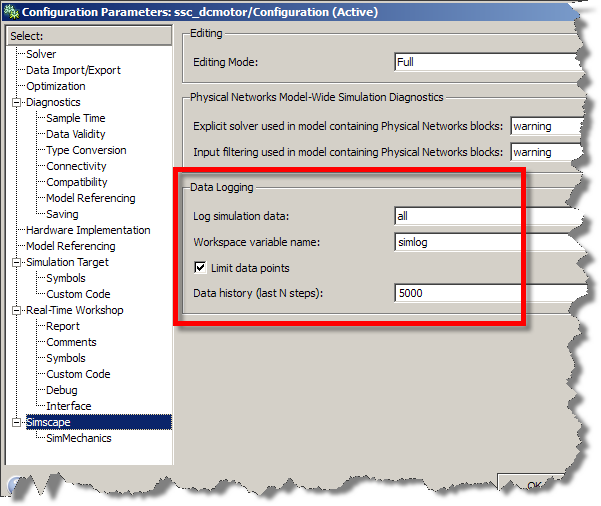 Enabling the data logging from the Simulink Configuration Parameters dialog