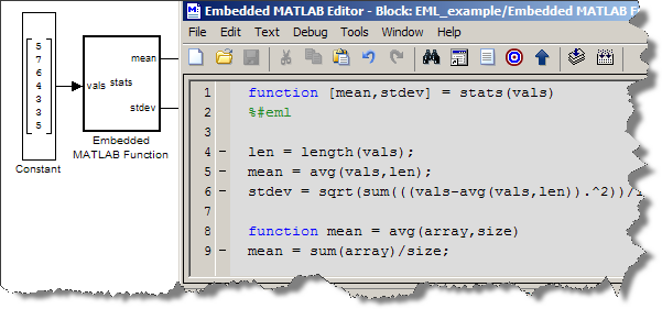 Embedded MATLAB Function block