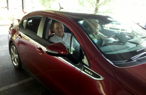 Seth and Judy trying out the Chevy Volt