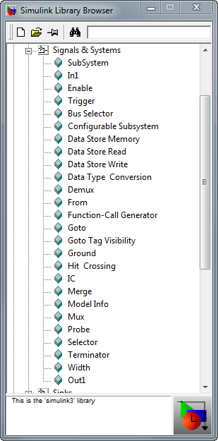 Simulink Library Browser - MATLAB R11, notice, it doesn't have a Bus Creator.