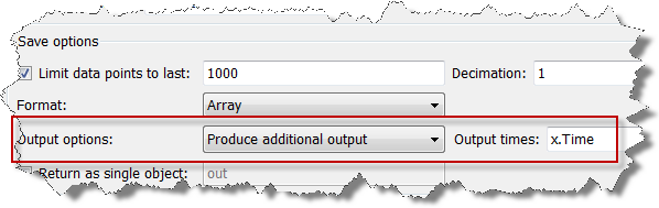 Output options: Produce Additional outputs