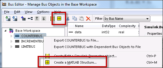 Creating a MATLAB Structure from the Bus Editor