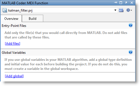 MATLAB Coder Project Interface