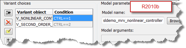pre R2010b Model Reference Parameter dialog box