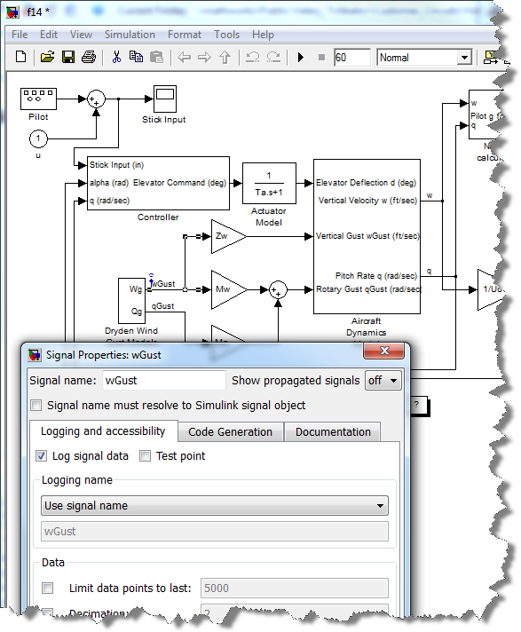 Enabling Signal Logging from the Signal Properties dialog