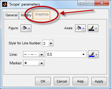 Graphics tab of the Simulink Scope parameters