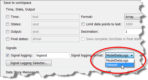 Selecting the Dataset format in the model configuration