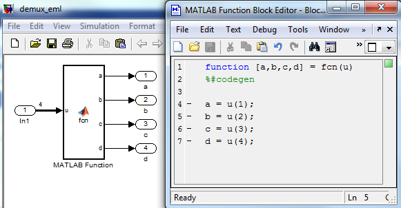 Using the MATLAB Function block to separate components or a signal