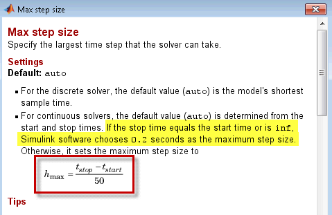 Documentation for the Max Step Size setting